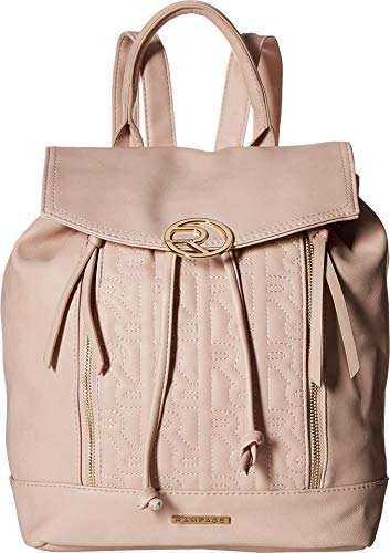 (Rampage Womens Quilted Logo Drawstring Backpack Blush One Size )