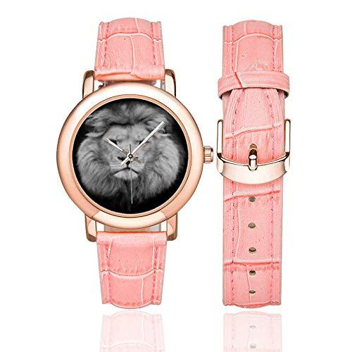 Reloj para Mujer Leo Zodiac Correa de Cuero Leo Reloj de Regalo de cumpleaños Zodiac Regalo león Mujer Regalo Fauna Salvaje Valor Be Brave: Amazon.es: ...