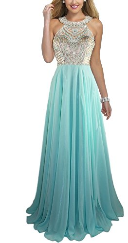 Chiffon Beaded Long Halter Gown - 7