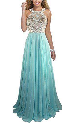 Chiffon Beaded Long Halter Dress - 8