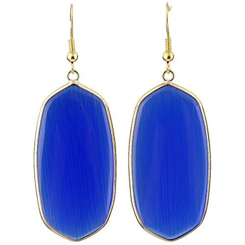 SUNYIK Women's Blue Cat Eye Stone Oval Dangle Earrings Gold Plated Cats Eye Dangling Earring