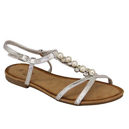 LS3 Fringe Damen Damen Flache On Slip Offene Sandalen Diamante Zehenstütze Back Shoe Sling Silver OOq5xwvar