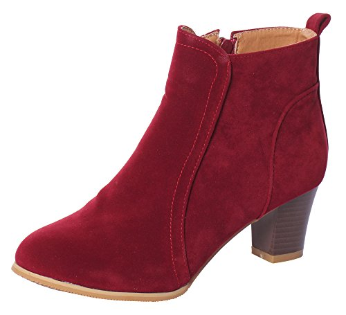 Serene Womens Vintage Chunky Low Heel Short Boot Suede Ankle Booties (10 B(M)US, Red) (Red Flat Boots)