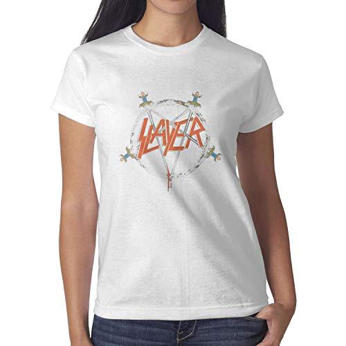 (KINKIN Women's Slayer-Logo- White Short Sleeved Cotton Tee Shirts)