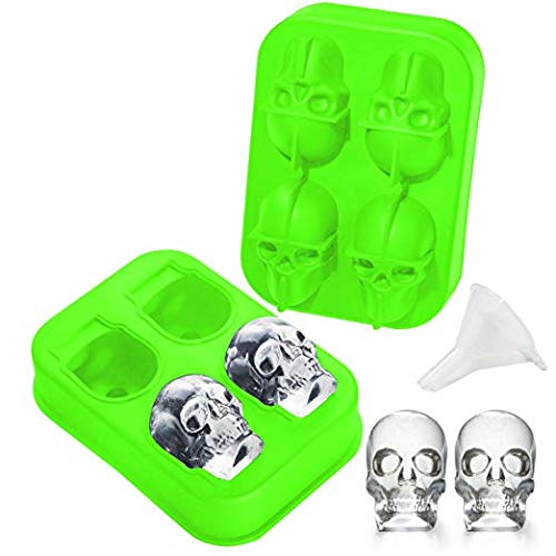 Wanrane Creative Design Silicone Ice Cube Mold Tray 3D Skull Shape Food DIY Four Grid Mold For Halloween Cocktail Party ()
