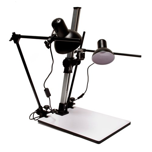 Albinar High Load 28'' Copy Macro Stand with 15.75''x19'' Base, Quick Release Mount and Lights by Albinar