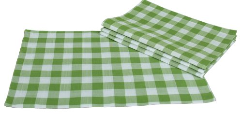 Xia Home Fashions Gingham Check Placemats, 13 by 19-Inch, Green, Set of 4