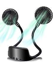 Draagbare halsventilator, USB-accu, oplaadbaar, met 6 snelheidsniveaus, 360 graden draaibaar, stille mini-ventilator voor outdoor, kantoor, camping