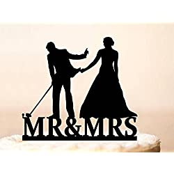 Wedding Cake Topper,Golf Wedding Cake Topper,Bride Pulling Groom,Cake Topper Golf,Lover Ever Golf Cake Topper,Bride & Groom Golf Theme