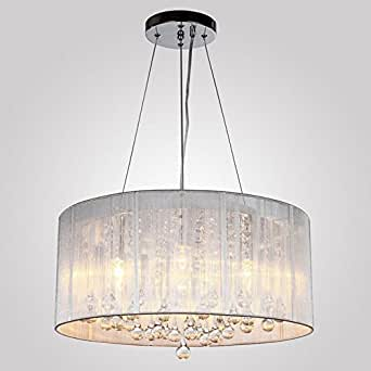 Modern Silver Crystal Pendant Light in Cylinder Shade, Drum Style Home Ceiling Light Fixture Flush Mount, Pendant Light Chandeliers Lighting for Kitchen Lighting