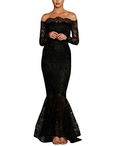 Lalagen Womens Floral Lace Long Sleeve Off Shoulder Wedding Mermaid Dress