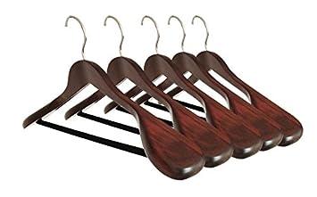 set of 5 luxury wooden suit hangers extra wide wood hangers with velvet bar for