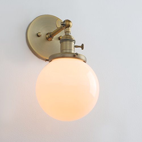 Permo Vintage Industrial Wall Sconce Lighting Fixture with Mini 5.9'' Round Globe Milk White Glass Hand Blown Shade (Anqitue) by Permo (Image #4)