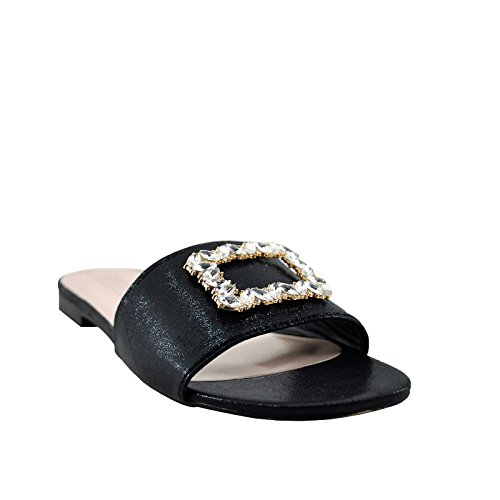 Slip Blossom Sandals Embellished On Women's 21B Black Evelyn wxx4qIvS