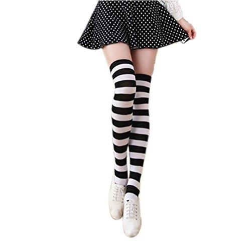 [Tinksky Women Thigh High Over Knee Stocking Socks Black White Stripe Long Leg Warmers] (Striped Leggings Costumes)
