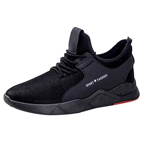 Men's Running Shoes Fashion Breathable Sneakers Woven Soft Sole Casual Athletic Lightweight Fitness Shoes Black ()