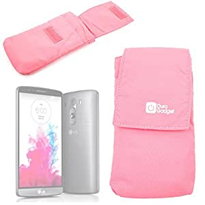 DURAGADGET Lightweight & Ultra-Portable Nylon Smartphone Case / Pouch with Belt Loop in Pink for The NEW LG G4 Smartphone (2015 Release)
