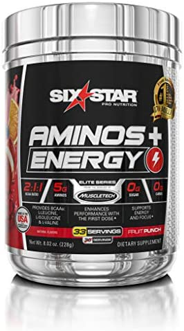 Six Star Aminos Plus Energy, BCAA Powder, Fruit Punch, 33 Servings, 228 grams