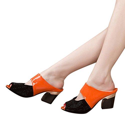 Da Toe Pantofole Con Sandali Tacco Peep Arancia Lanskrlsp Estivi Elegante Sala Donna Alto Eleganti zPnqT5wa