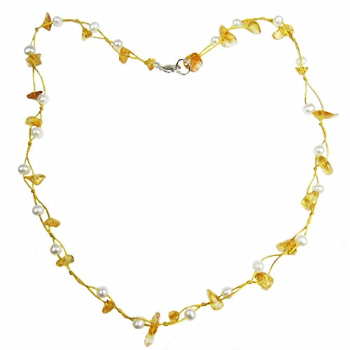Regalia by Ulti Ramos Citrine Chips and Cultured Freswater Pearl Necklace in .925 Sterling Silver (Yellow)