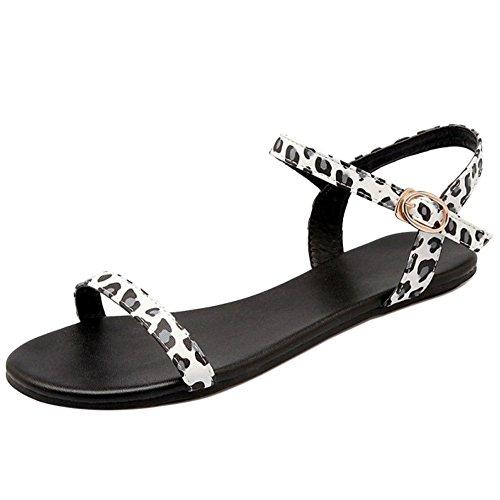 TAOFFEN Fashion Open Women Strap White Leopard Flat Sandals Toe r71rRqw