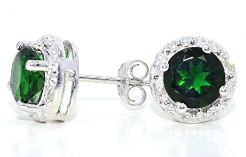 2-Ct-Simulated-Emerald-Diamond-Round-Stud-Earrings-14Kt-White-Gold-Sterling-Silver