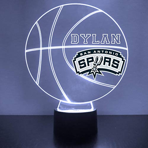 San Antonio Handmade Acrylic Personalized Spurs NBA Basketball LED Night Light - Remote, 16 Color Option, Great Personalized Gift, Engraved