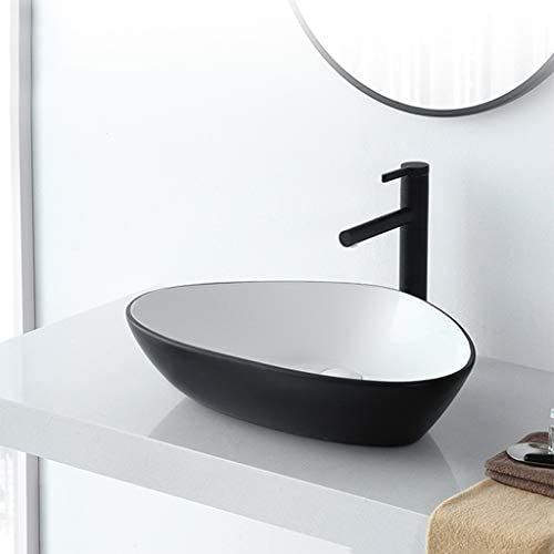 DS- バスルームの洗面台、(タップ無し)家庭セラミックカウンター流域浴室バルコニー技術流域単一流域、利用可能な3色 洗面ボール && (Color : Black and White)