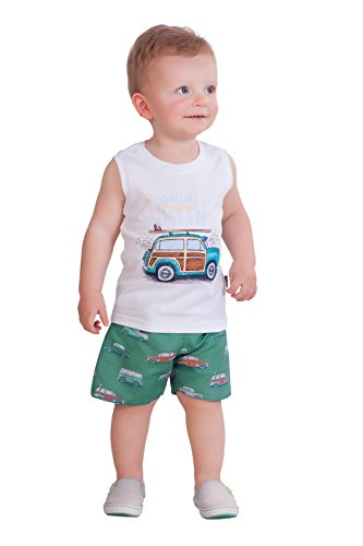 Infant Tank Top (Pulla Bulla Baby Boy 2-Piece Set Tank Top and Shorts Outfit 9-12 Months White)