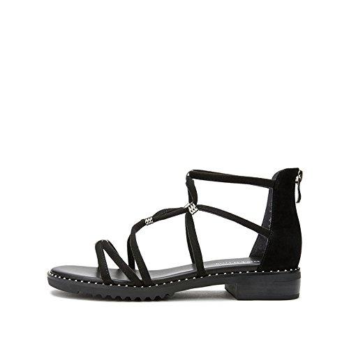 donna Sandali moda estivi con Nero Pantofole 37 casual piatti tacco Tacchi basso basso Sandali alti Sandali DHG da alla tacco a Yq5pdqIw