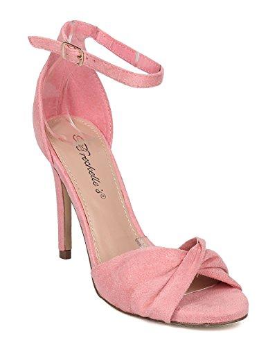 Breckelles Women Vegan Stiletto Sandal - Peep Toe Heel - Ankle Strap Stiletto Heel - Wedding, Formal, Prom, Dance, Party - GI68 by Pink Faux Suede