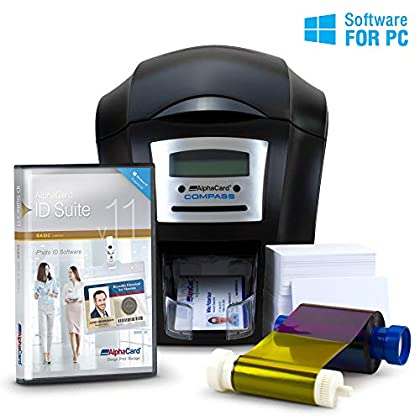 Image of AlphaCard Compass Complete Photo ID Card Printer System with AlphaCard ID Software (Complete Bundle for PCs, One-Sided Printer) Label Makers