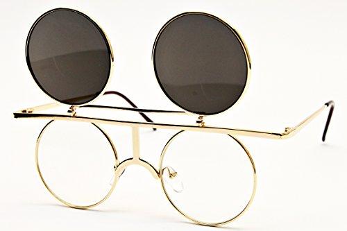 V164-vp Style Vault Round Metal Django Flip up Sunglasses (098A Gold-Dark Lens, clear)