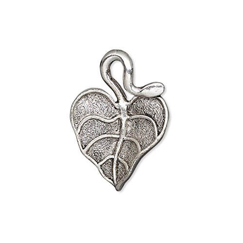 (Charm antique silver-plated pewter (tin-based alloy) 25x18mm single-sided textured curved leaf)