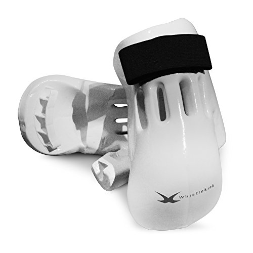 whistlekick Pair Martial Arts Gloves, Stratus, White (Adult, Medium) with FREE Backpack-Karate Gear/Taekwondo Sparring Gear Set