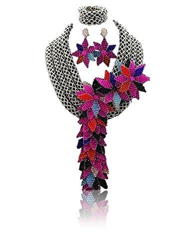 Argent élégant allongé 3couches dernière style africain perles avec cristal fait main fleur africaine de perles bijoux