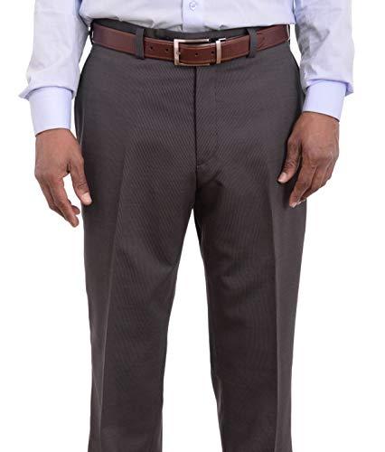 Calvin Klein Regular Fit Black Pinstriped Flat Front Wool Dress Pants