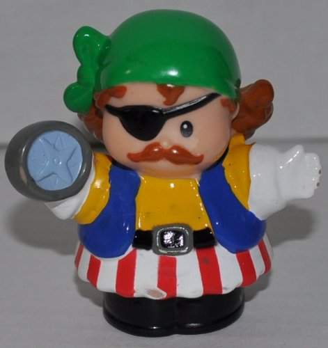 Little People Pirate (Wearing Green Bandana) (2006) - Replacement Figure Accessory - Classic Fisher Price Collectible Figures - Loose Out Of Package & Print (OOP) - Zoo Circus Ark Pet Castle