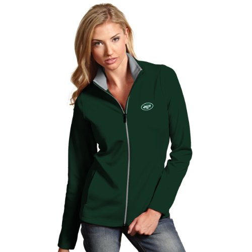 NFL New York Jets Women's Leader Jacket, Dark Pine/Silver, Small (Antigua Spandex Jersey)