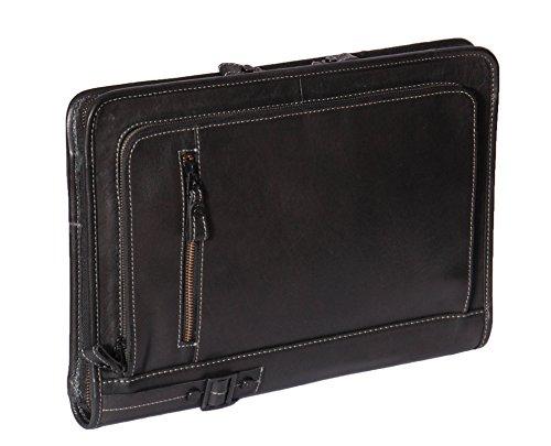 A4 Leather Folder Zip Around Underarm Mens Folio Tablet File Documents Bag Black A942