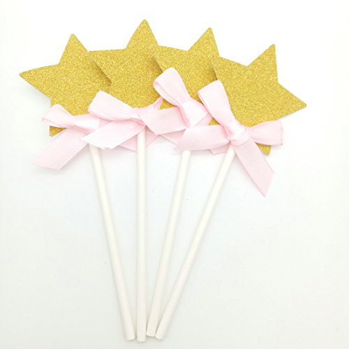 Paity gold Star cupcake toppers star pink ribbon cupcake toppers star food picks twinkle twinkle star banner star first birthday Wedding Cupcake Topper / set of 18