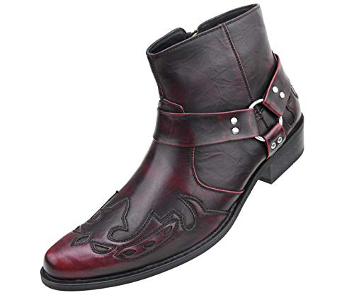Amali Men's Embellished Wing Tip Designer High Rise Boot with Inside Zipper, Style Rancho Burgundy