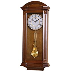 Verona Elegant Wood Pendulum Wall Clock with Glass Front - Beautiful & decorative clock with medium brown finish and glass front – 27.25 x 11.25 x 4.75 inch – Quartz movement, battery operated & quiet