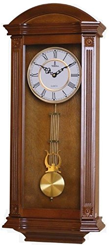Verona Elegant Wood Pendulum Wall Clock with Glass Front - Beautiful & decorative clock with medium brown finish and glass front – 27.25 x 11.25 x 4.75 inch – Quartz movement, battery operated & quiet by Verona Clocks