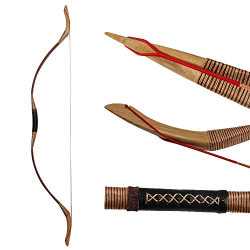 Huntingdoor Traditional Longbow Hunting Bow Recurve Bow 30-55LBS Archery Bows with String Brown (30lbs)