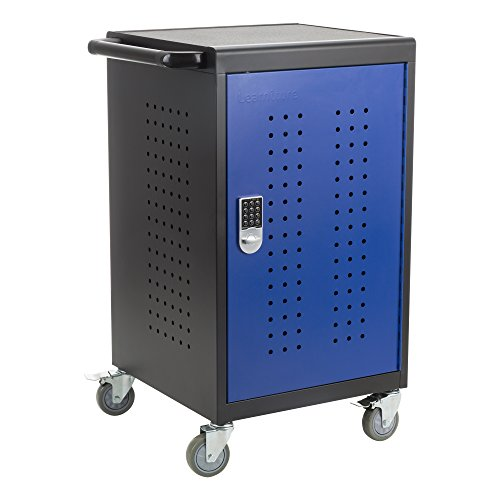Learniture LNT-NOR3001BKBL-SO Shapes Series 30-Device Charging Cart w/ Electronic Lock & Pull-Out Shelves, Black/Blue