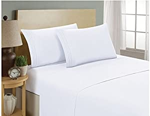 Comfort Bed Fitted Sheet 700 TC White SOLID Twin Extra-Long Size With 16