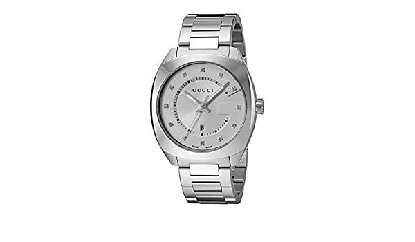 Amazon.com: Gucci Swiss Quartz Stainless Steel Dress Silver Toned Mens Watch(Model: YA142403): Gucci: Watches