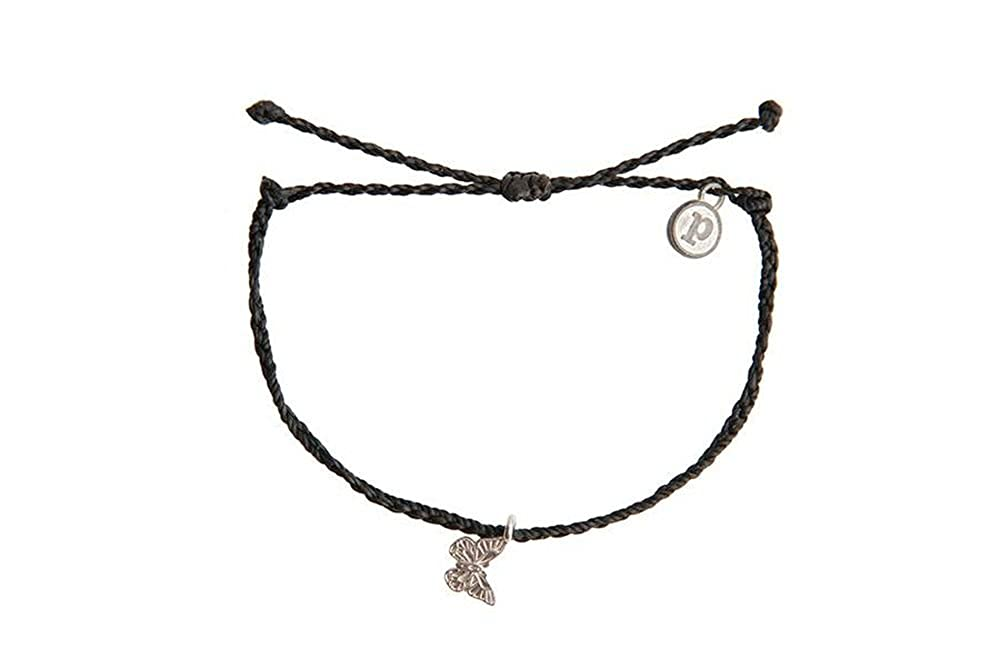 Pura Vida Bracelets Butterfly Charm Bracelet - Plated Charm, Adjustable Band - 100% Waterproof 841696116244