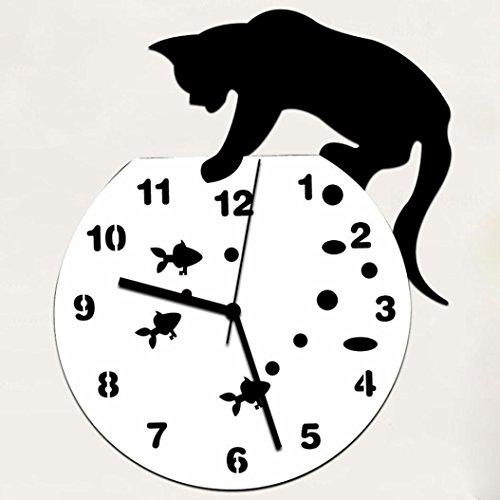 Cat Clock Wall Metal (Naughty Cat Acrylic Clock Wall Clock,REYO Modern Design Home Decor Watch Wall Sticker (black))